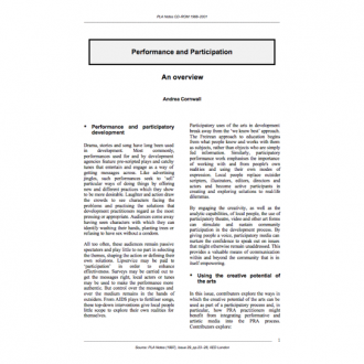 Participation and Performance, Andrea Cornwall ed. Special issue of PLA Notes 28,