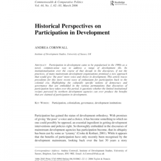 'Historical perspectives on participation in development' Journal of Commonwealth and Comparative Politics, 44 (1): 49–65, 2006.