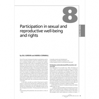 'Participation in sexual and reproductive wellbeing and rights', Gill Gordon and Andrea Cornwall, PLA Notes 50, 2004