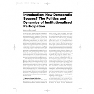 'New democratic spaces? The politics and dynamics of institutionalised participation', IDS Bulletin 35(2): 1-10, 2004.