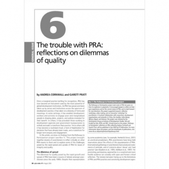 'The trouble with PRA: Reflections on dilemmas of quality', PLA Notes, 47: 38-44, Andrea Cornwall and Garett Pratt, 2003.
