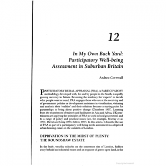 'In my own back yard: participatory wellbeing assessment in suburban Britain', Social Change, Vol 28 (2/3), 1998.